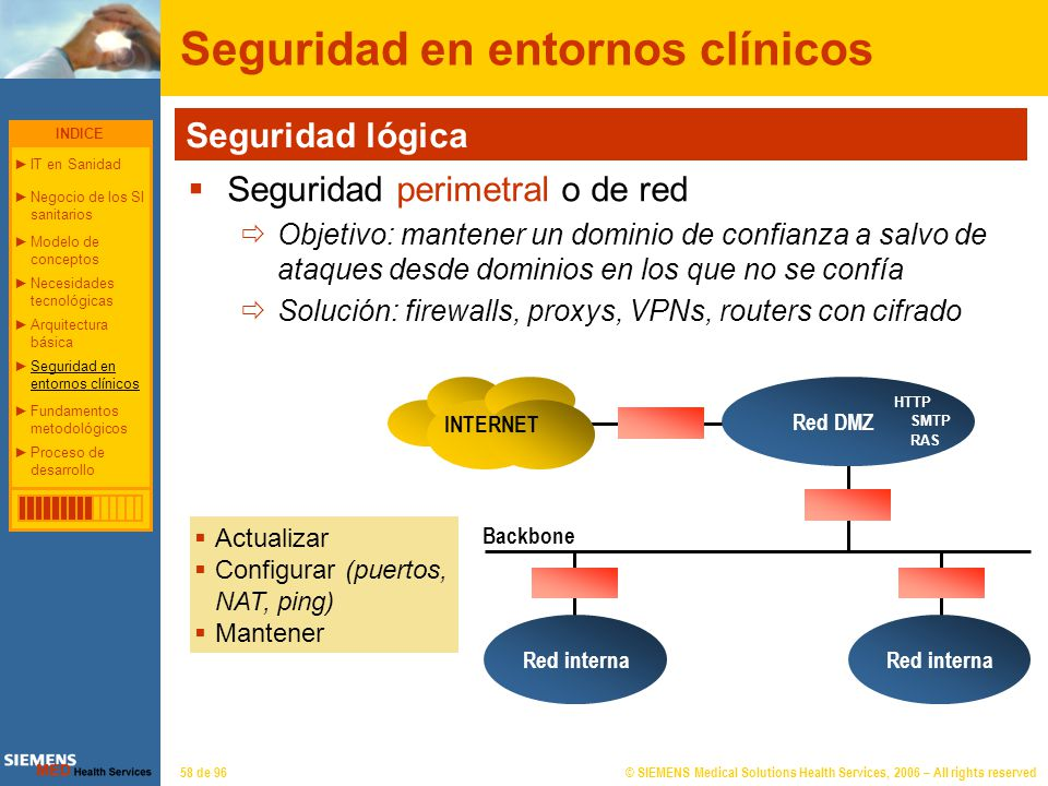 © SIEMENS Medical Solutions Health Services, 2006 – All rights reserved58 de 96 Seguridad en entornos clínicos INTERNET Red interna Red DMZ Backbone S