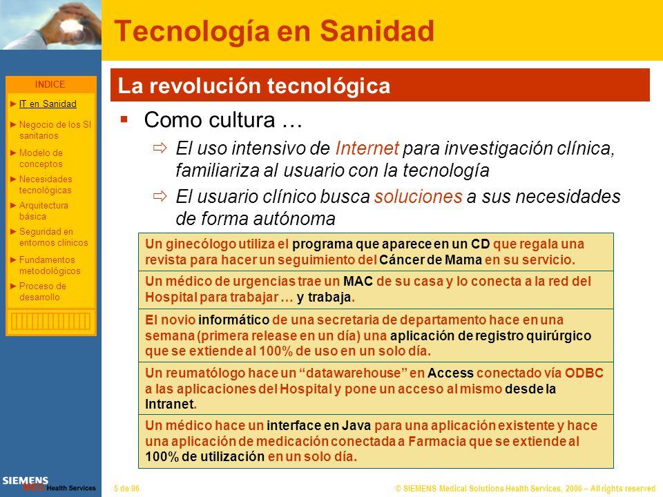 © SIEMENS Medical Solutions Health Services, 2006 – All rights reserved5 de 96 Tecnología en Sanidad La revolución tecnológica Como cultura … El uso i