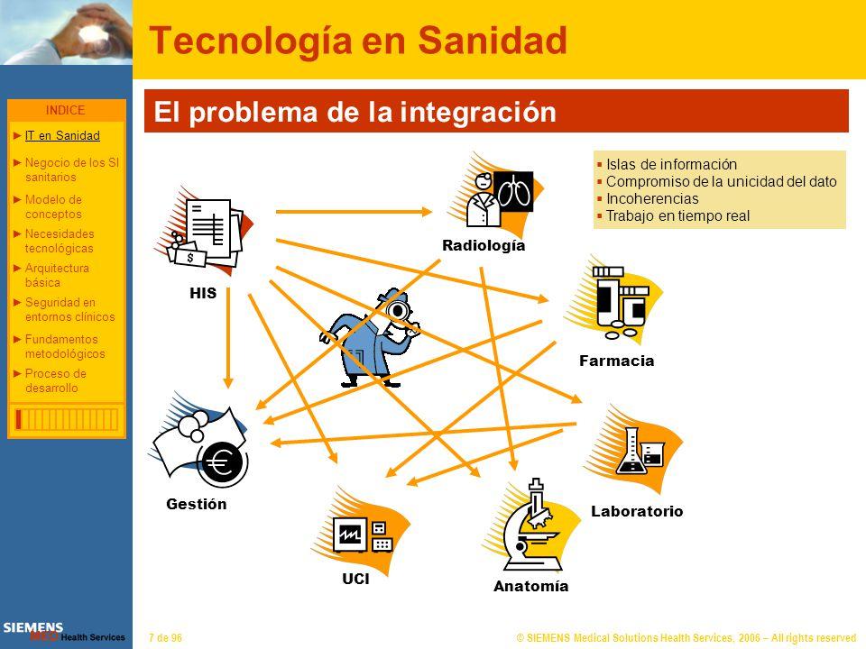 © SIEMENS Medical Solutions Health Services, 2006 – All rights reserved48 de 96 Arquitectura básica El problema de la integración Comunicación a nivel tecnológico ¿Cómo pueden interconectarse dos sistemas.