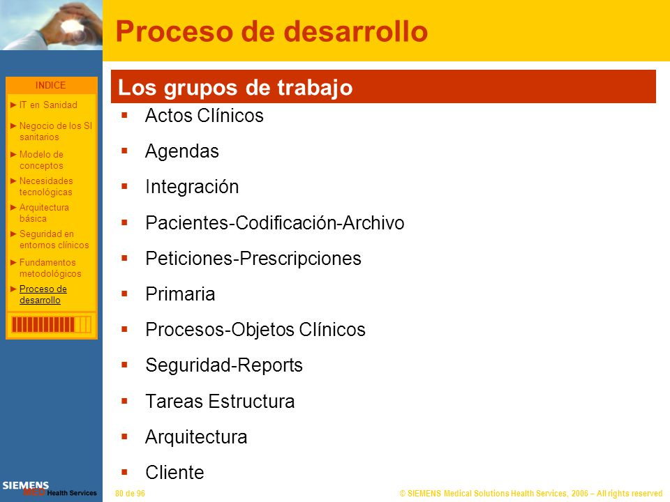 © SIEMENS Medical Solutions Health Services, 2006 – All rights reserved80 de 96 Proceso de desarrollo Actos Clínicos Agendas Integración Pacientes-Cod
