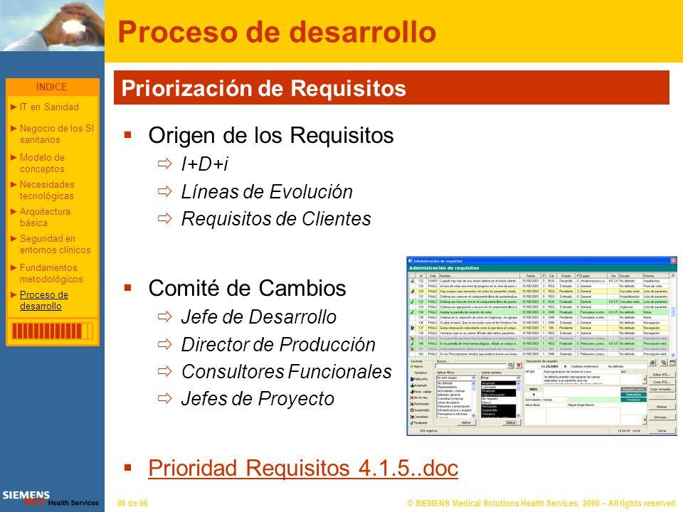 © SIEMENS Medical Solutions Health Services, 2006 – All rights reserved86 de 96 Proceso de desarrollo Origen de los Requisitos I+D+i Líneas de Evoluci