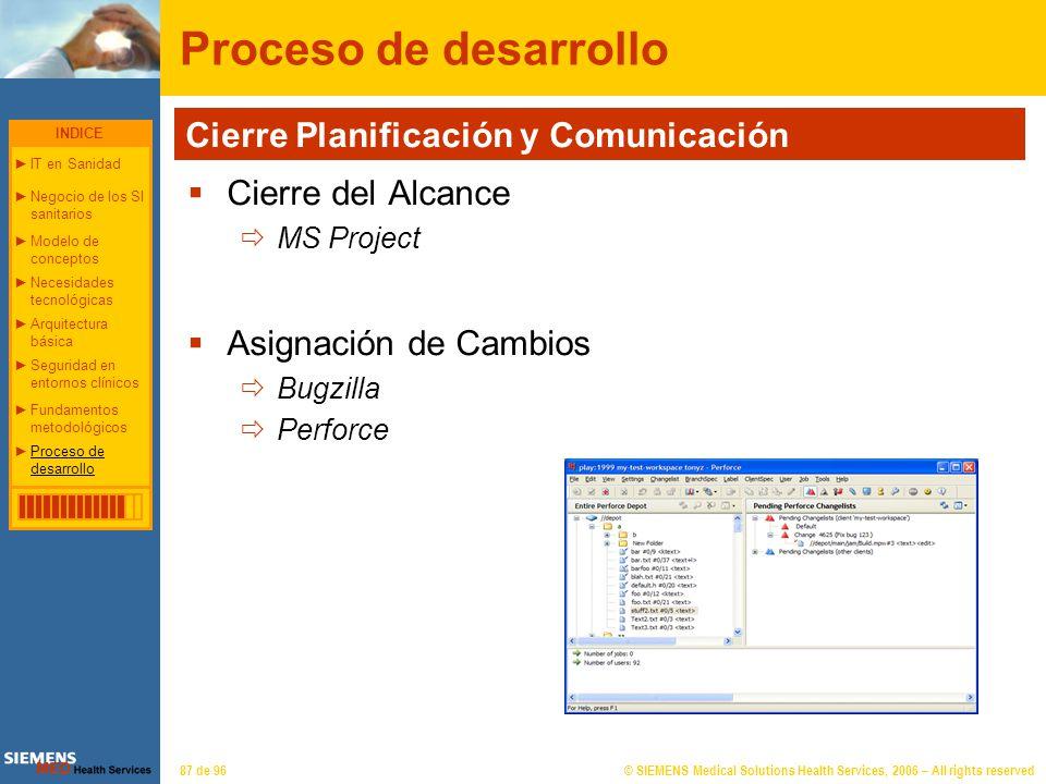 © SIEMENS Medical Solutions Health Services, 2006 – All rights reserved87 de 96 Proceso de desarrollo Cierre del Alcance MS Project Asignación de Camb