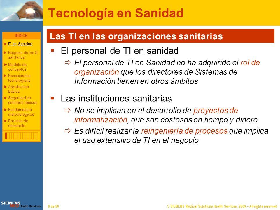 © SIEMENS Medical Solutions Health Services, 2006 – All rights reserved39 de 96 Arquitectura básica WORKFLOWSEGURIDAD PROCESO DE TEXTOS IMPRESIÓNPERMISOSPROCESOS ACTOS CLÍNICOS AGENDASRECURSOSPACIENTESINFORMESCITACIÓNBOXESTRIAGE_ADMISIÓNFORMULARIOS OBJETIVOS: Integridad Coherencia - Modularidad Unicidad ESTACIÓN DE URGENCIAS Despliegue modular INDICE IT en Sanidad Negocio de los SI sanitariosNegocio de los SI sanitarios Necesidades tecnológicasNecesidades tecnológicas Arquitectura básicaArquitectura básica Seguridad en entornos clínicosSeguridad en entornos clínicos Modelo de conceptosModelo de conceptos Fundamentos metodológicosFundamentos metodológicos Proceso de desarrolloProceso de desarrollo