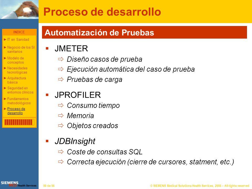 © SIEMENS Medical Solutions Health Services, 2006 – All rights reserved90 de 96 Proceso de desarrollo JMETER Diseño casos de prueba Ejecución automáti