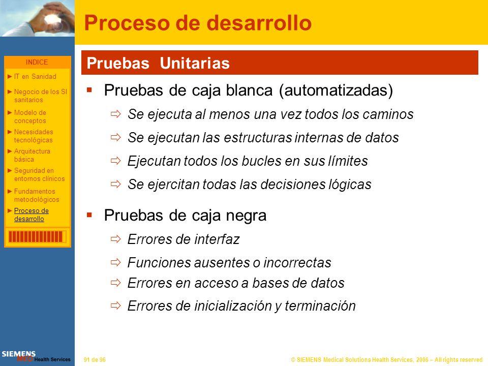 © SIEMENS Medical Solutions Health Services, 2006 – All rights reserved91 de 96 Proceso de desarrollo Pruebas Unitarias Pruebas de caja blanca (automa