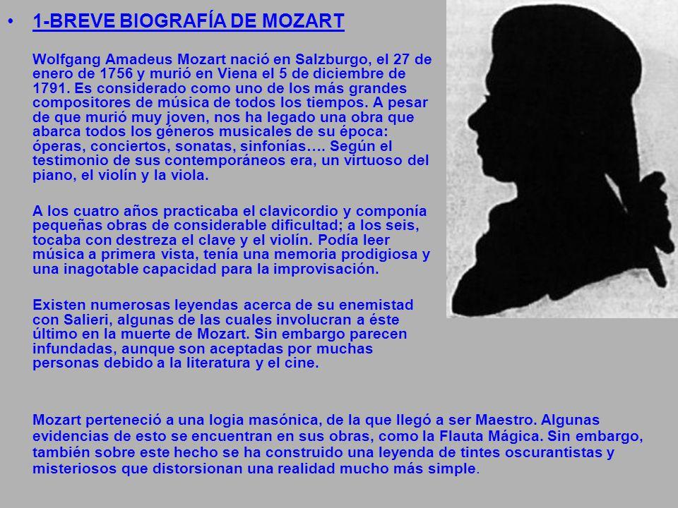 1-BREVE BIOGRAFÍA DE MOZART Wolfgang Amadeus Mozart nació en Salzburgo, el 27 de enero de 1756 y murió en Viena el 5 de diciembre de 1791. Es consider