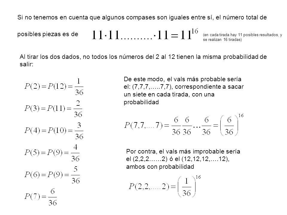 Si no tenemos en cuenta que algunos compases son iguales entre sí, el número total de posibles piezas es de Al tirar los dos dados, no todos los númer