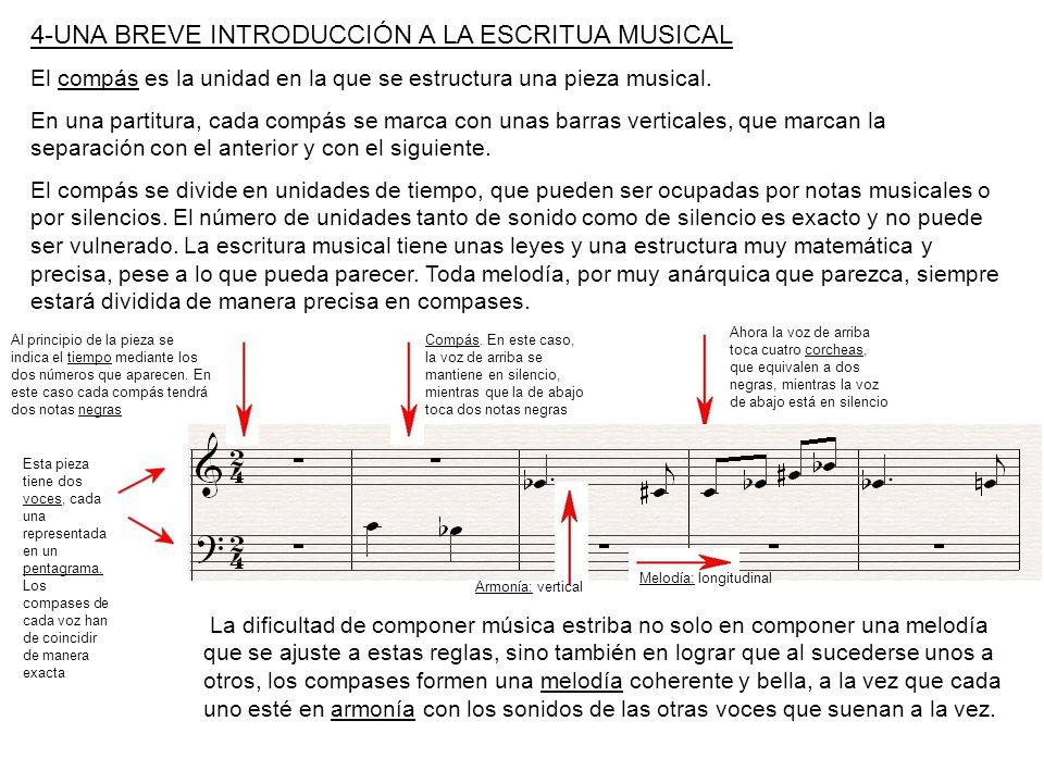 4-UNA BREVE INTRODUCCIÓN A LA ESCRITUA MUSICAL El compás es la unidad en la que se estructura una pieza musical. En una partitura, cada compás se marc