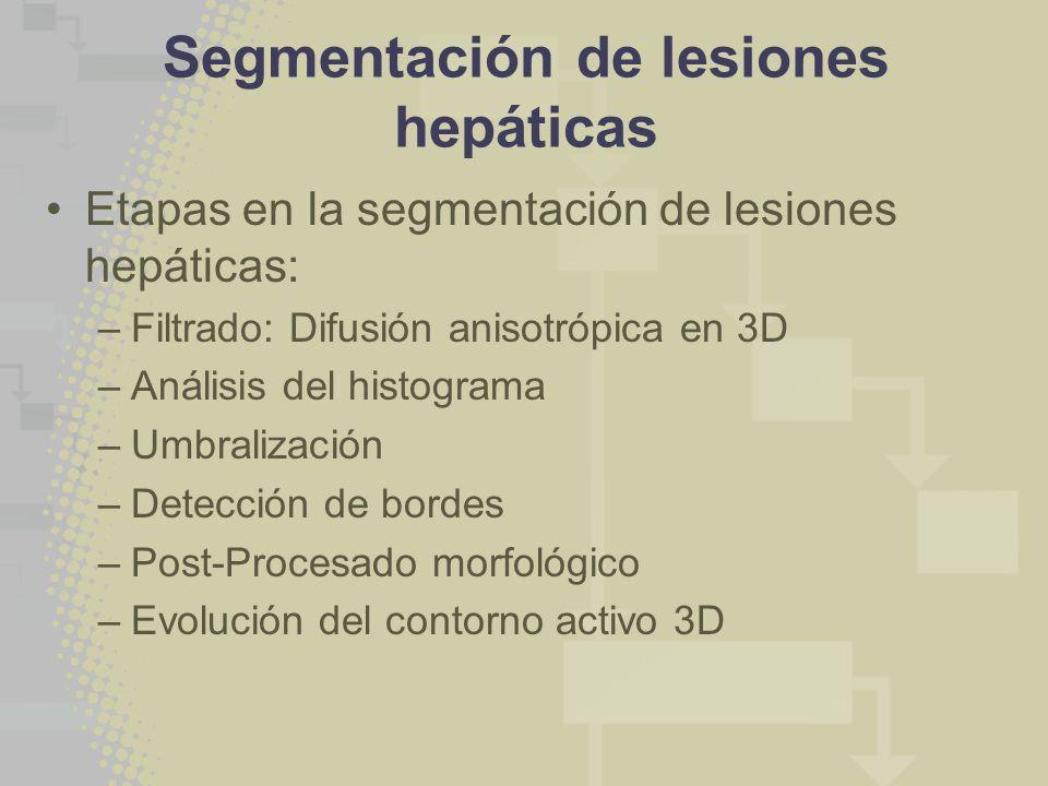 Segmentación de lesiones hepáticas Etapas en la segmentación de lesiones hepáticas: –Filtrado: Difusión anisotrópica en 3D –Análisis del histograma –Umbralización –Detección de bordes –Post-Procesado morfológico –Evolución del contorno activo 3D