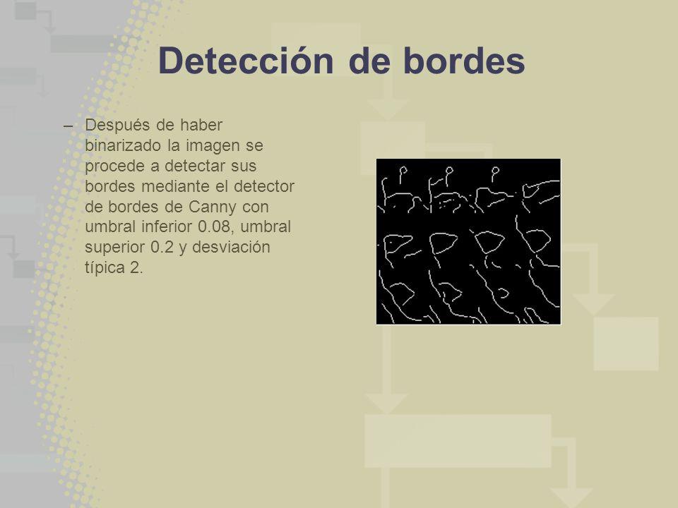 Detección de bordes –Después de haber binarizado la imagen se procede a detectar sus bordes mediante el detector de bordes de Canny con umbral inferio