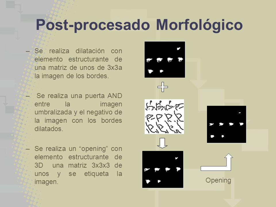 Post-procesado Morfológico –Se realiza dilatación con elemento estructurante de una matriz de unos de 3x3a la imagen de los bordes. – Se realiza una p