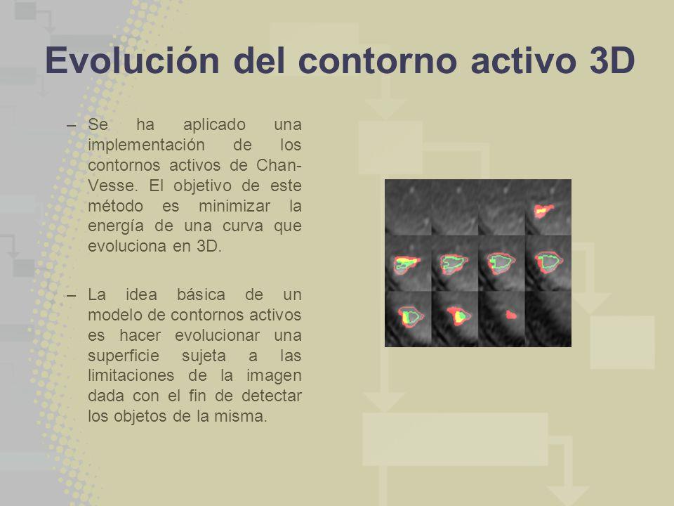 Evolución del contorno activo 3D –Se ha aplicado una implementación de los contornos activos de Chan- Vesse. El objetivo de este método es minimizar l