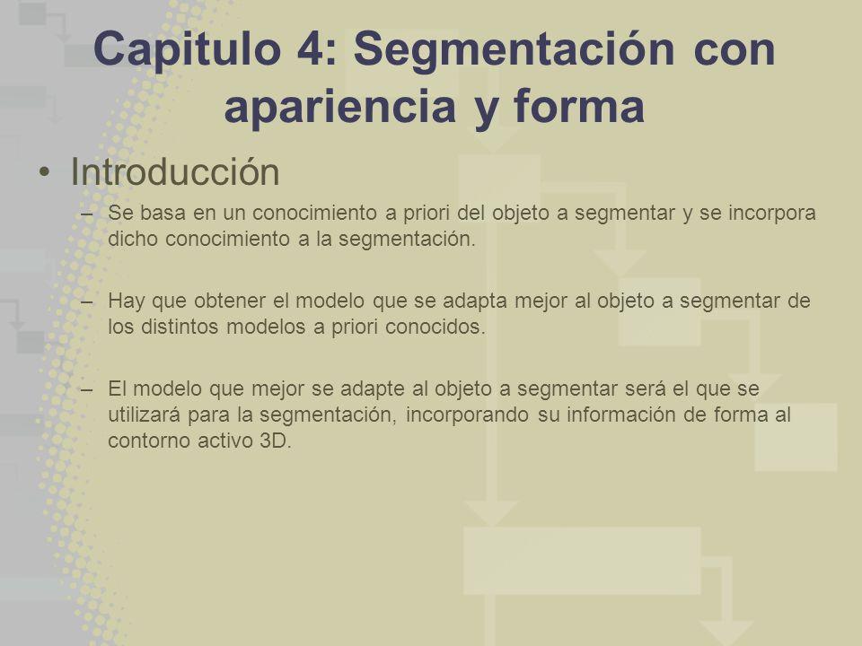 Capitulo 4: Segmentación con apariencia y forma Introducción –Se basa en un conocimiento a priori del objeto a segmentar y se incorpora dicho conocimiento a la segmentación.