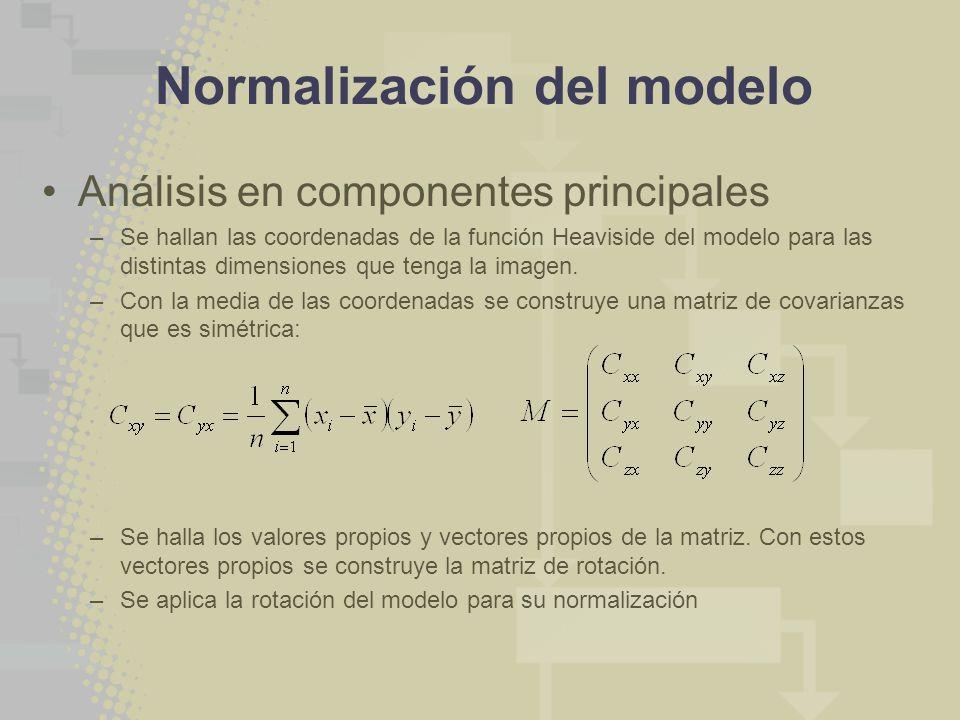 Normalización del modelo Análisis en componentes principales –Se hallan las coordenadas de la función Heaviside del modelo para las distintas dimensiones que tenga la imagen.