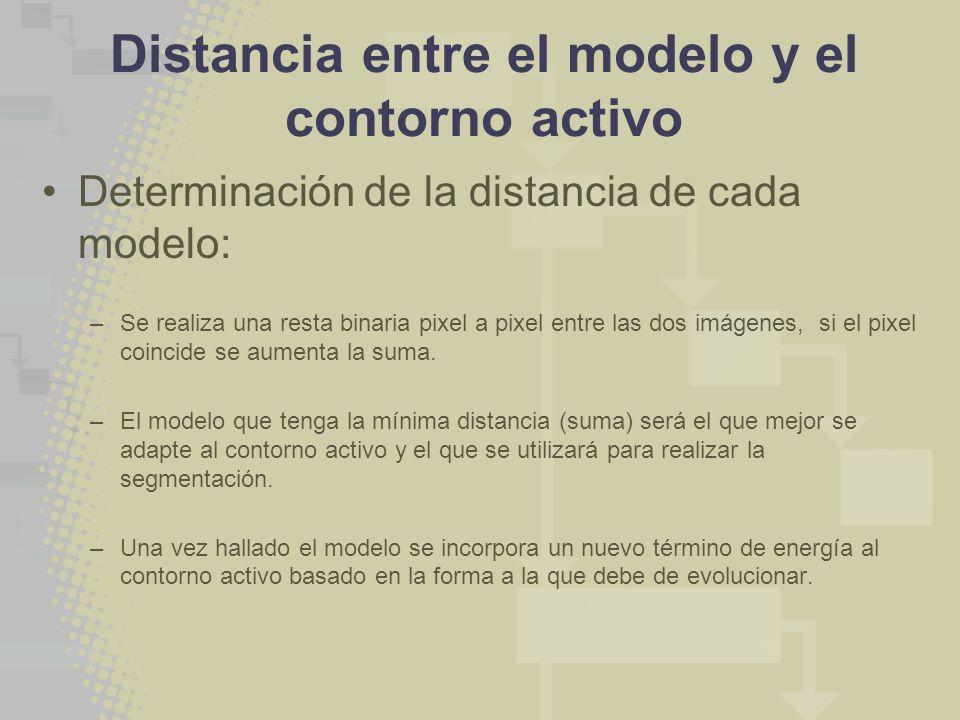 Distancia entre el modelo y el contorno activo Determinación de la distancia de cada modelo: –Se realiza una resta binaria pixel a pixel entre las dos