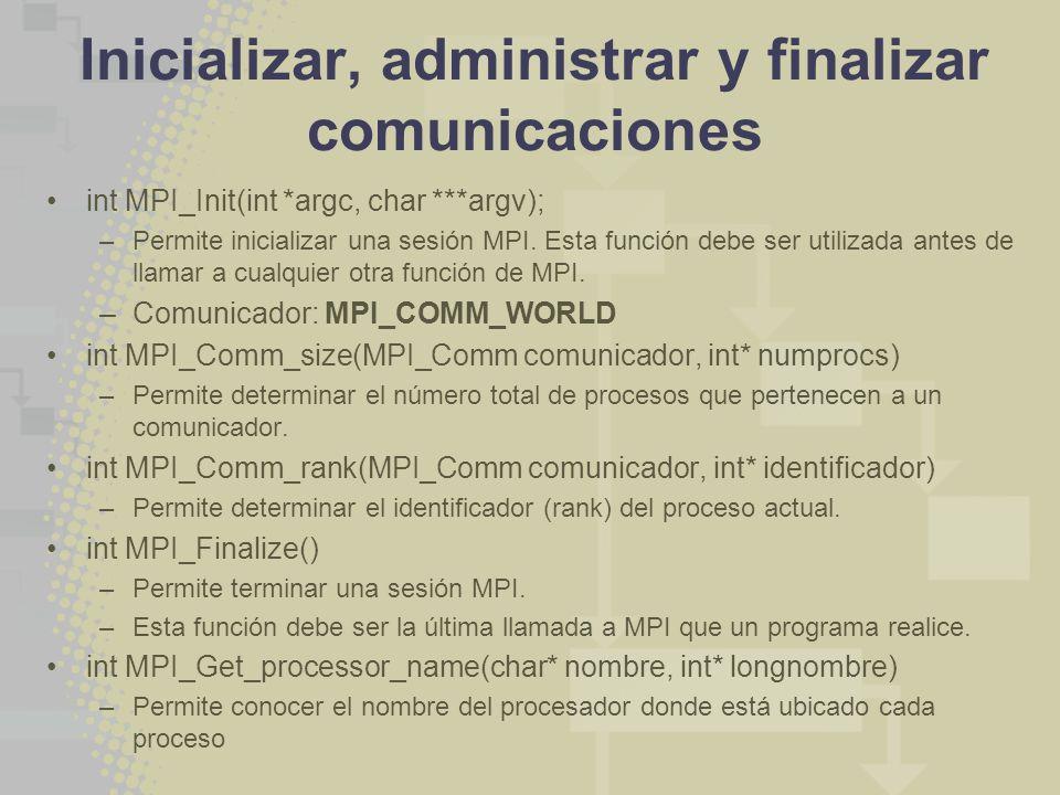 Inicializar, administrar y finalizar comunicaciones int MPI_Init(int *argc, char ***argv); –Permite inicializar una sesión MPI. Esta función debe ser