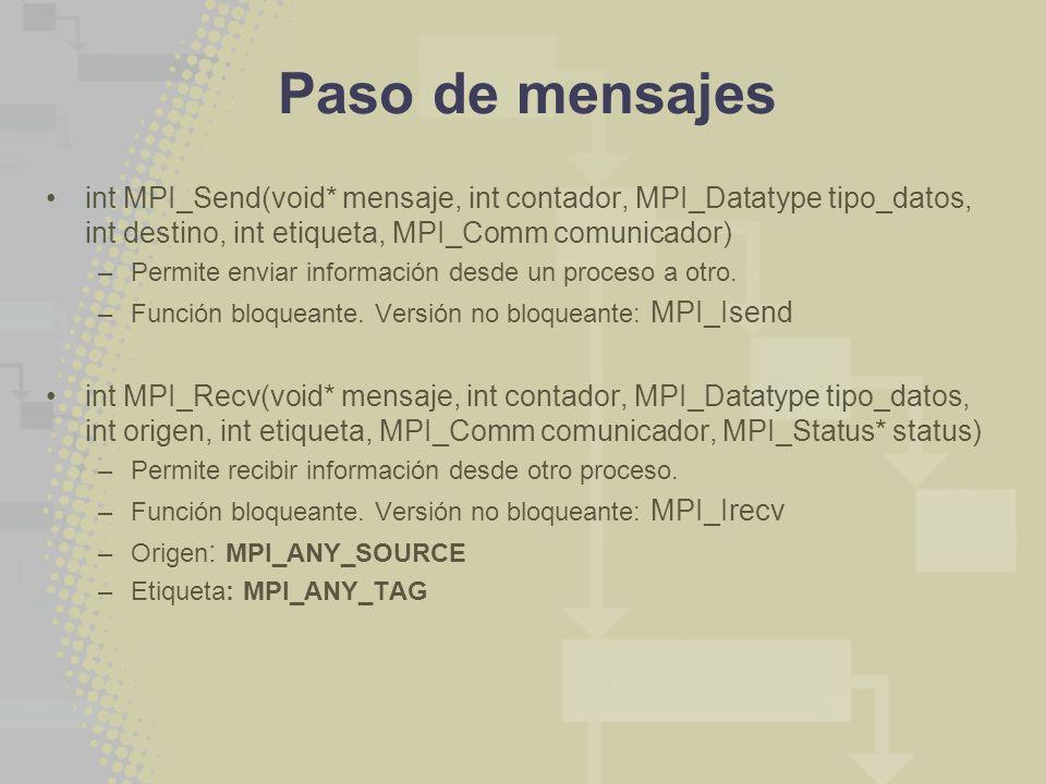 Paso de mensajes int MPI_Send(void* mensaje, int contador, MPI_Datatype tipo_datos, int destino, int etiqueta, MPI_Comm comunicador) –Permite enviar i