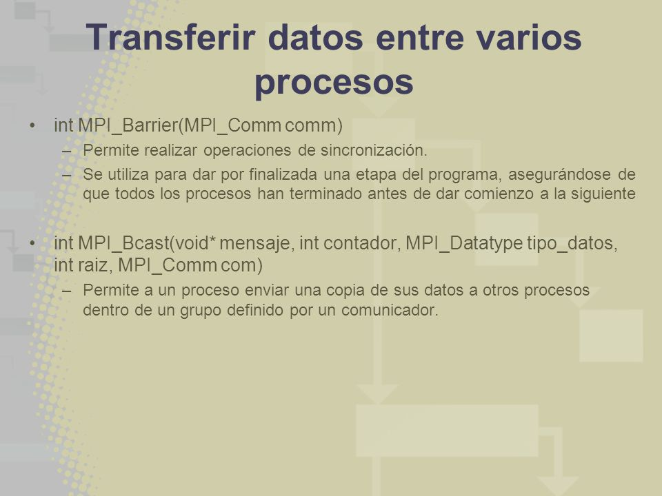 Transferir datos entre varios procesos int MPI_Barrier(MPI_Comm comm) –Permite realizar operaciones de sincronización. –Se utiliza para dar por finali