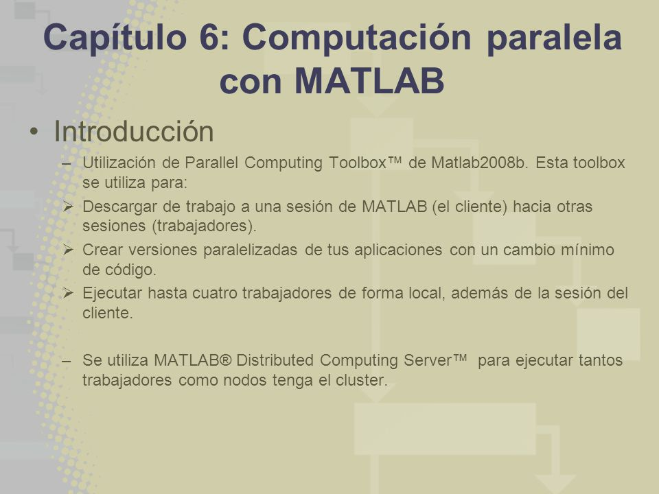 Capítulo 6: Computación paralela con MATLAB Introducción –Utilización de Parallel Computing Toolbox de Matlab2008b.