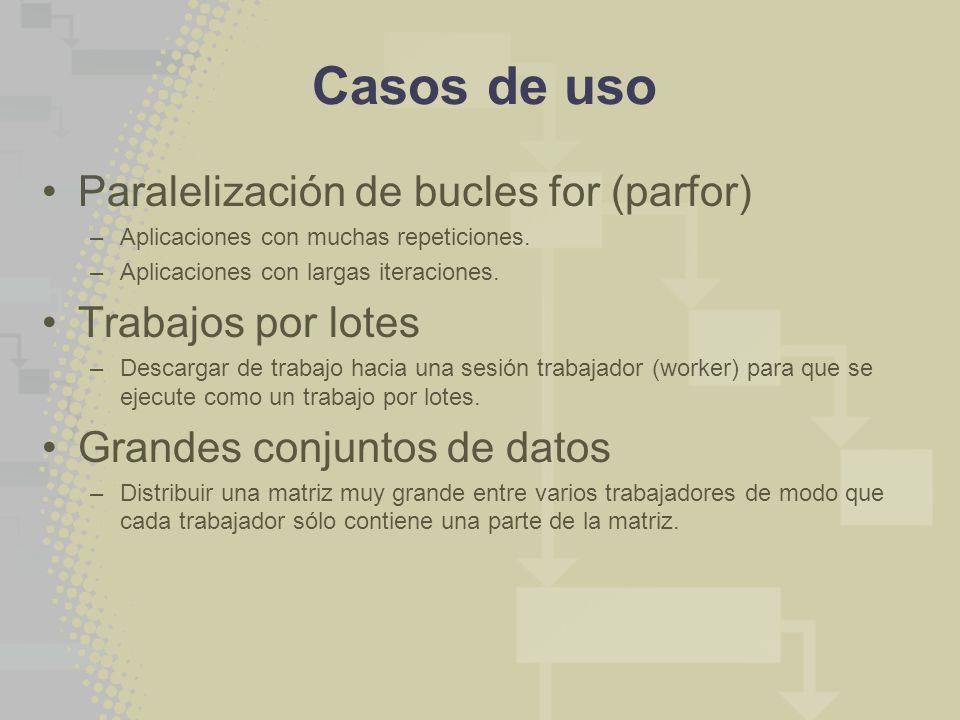 Casos de uso Paralelización de bucles for (parfor) –Aplicaciones con muchas repeticiones.