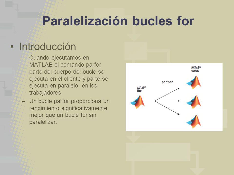 Paralelización bucles for Introducción –Cuando ejecutamos en MATLAB el comando parfor parte del cuerpo del bucle se ejecuta en el cliente y parte se ejecuta en paralelo en los trabajadores.