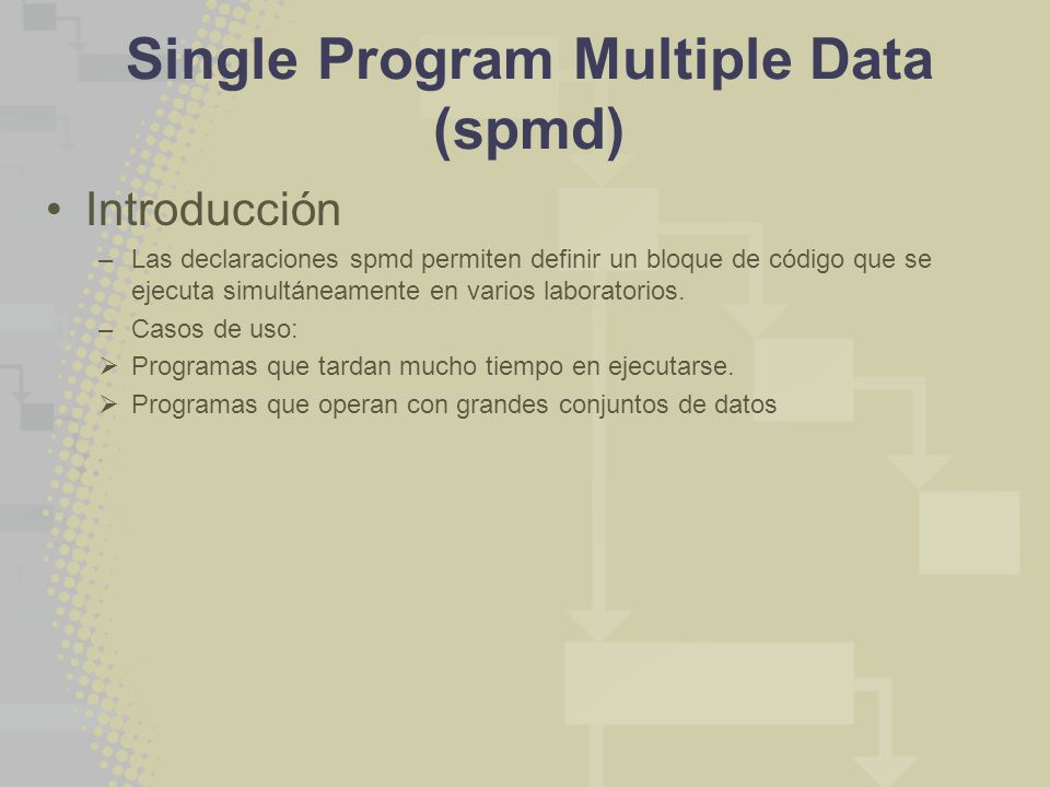 Single Program Multiple Data (spmd) Introducción –Las declaraciones spmd permiten definir un bloque de código que se ejecuta simultáneamente en varios laboratorios.