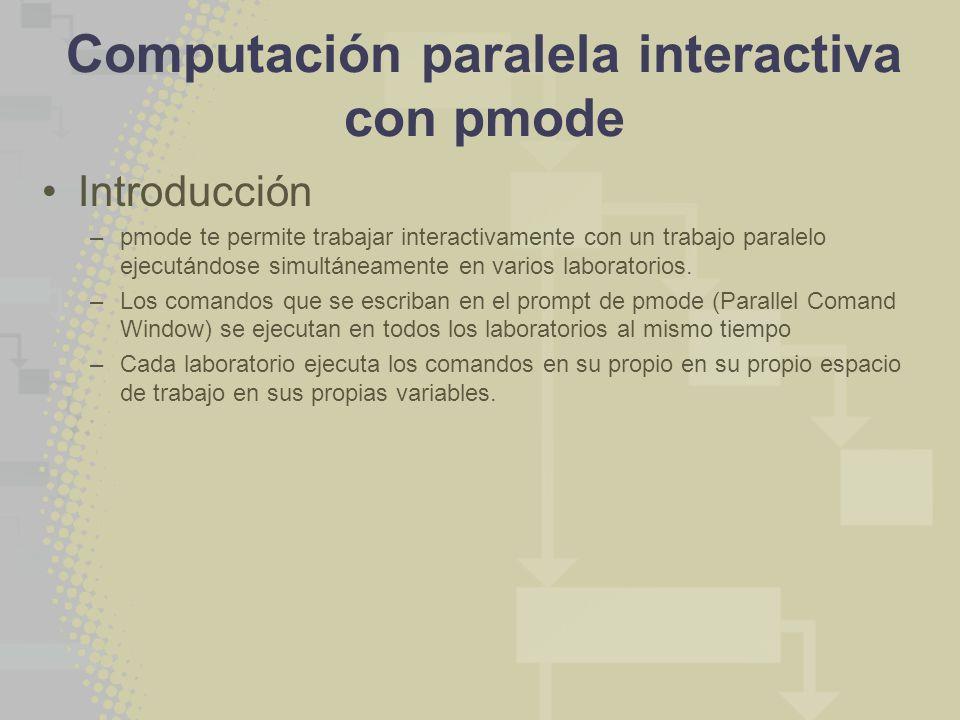 Computación paralela interactiva con pmode Introducción –pmode te permite trabajar interactivamente con un trabajo paralelo ejecutándose simultáneamente en varios laboratorios.