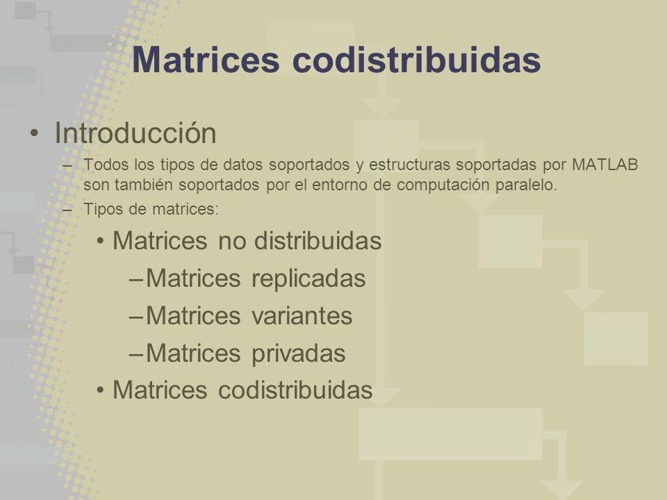 Matrices codistribuidas Introducción –Todos los tipos de datos soportados y estructuras soportadas por MATLAB son también soportados por el entorno de