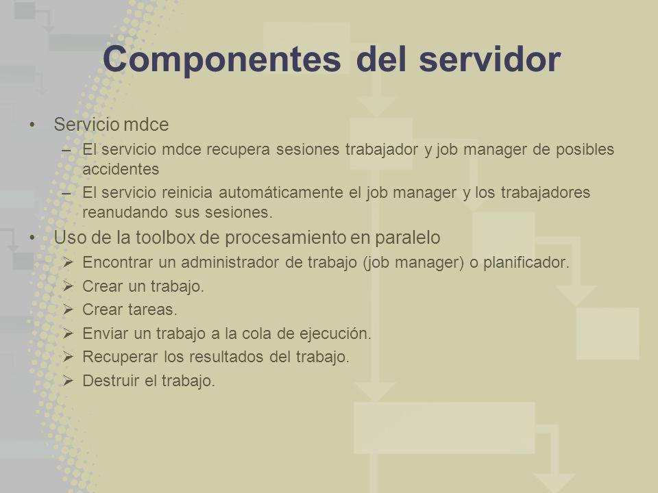 Componentes del servidor Servicio mdce –El servicio mdce recupera sesiones trabajador y job manager de posibles accidentes –El servicio reinicia automáticamente el job manager y los trabajadores reanudando sus sesiones.