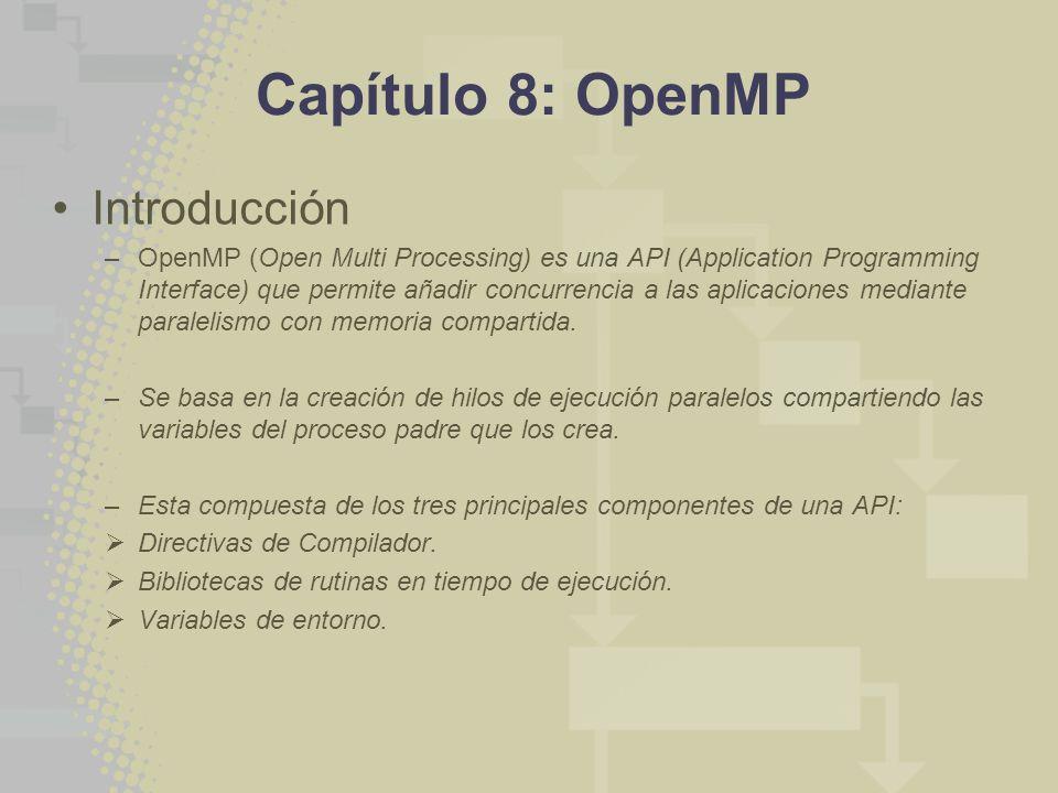 Capítulo 8: OpenMP Introducción –OpenMP (Open Multi Processing) es una API (Application Programming Interface) que permite añadir concurrencia a las aplicaciones mediante paralelismo con memoria compartida.