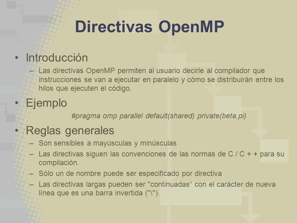 Directivas OpenMP Introducción –Las directivas OpenMP permiten al usuario decirle al compilador que instrucciones se van a ejecutar en paralelo y cómo se distribuirán entre los hilos que ejecuten el código.
