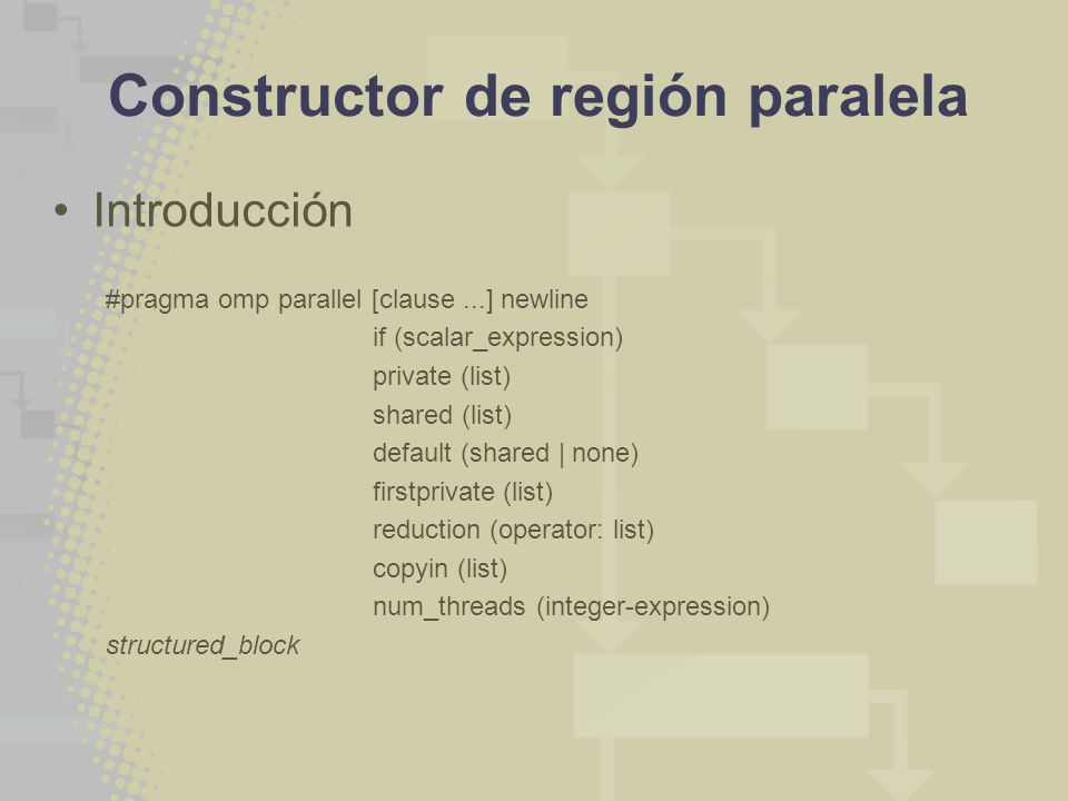 Constructor de región paralela Introducción #pragma omp parallel [clause...] newline if (scalar_expression) private (list) shared (list) default (shar
