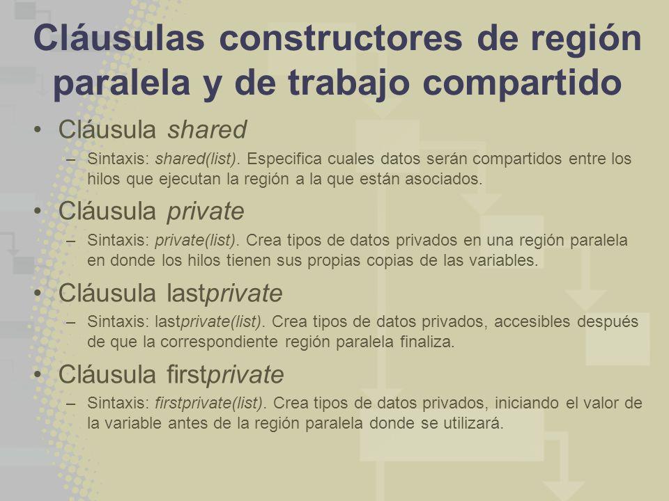 Cláusulas constructores de región paralela y de trabajo compartido Cláusula shared –Sintaxis: shared(list). Especifica cuales datos serán compartidos