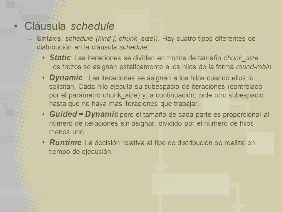 Cláusula schedule –Sintaxis: schedule (kind [, chunk_size]). Hay cuatro tipos diferentes de distribución en la cláusula schedule: Static : Las iteraci