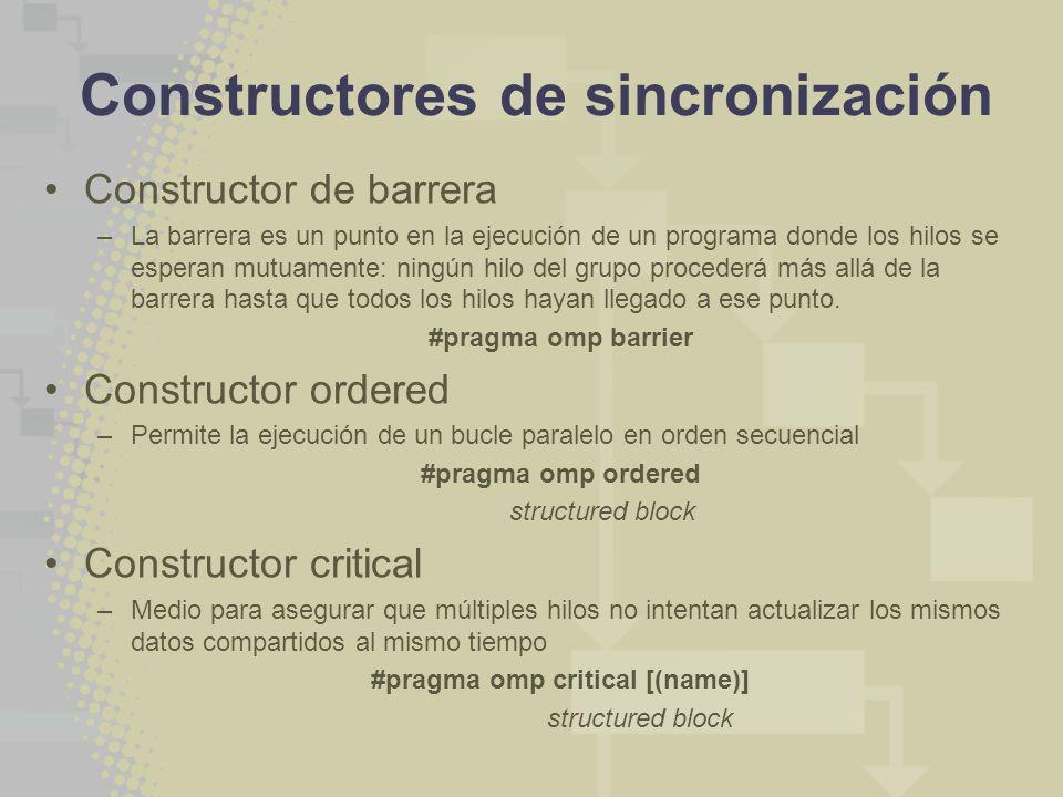 Constructores de sincronización Constructor de barrera –La barrera es un punto en la ejecución de un programa donde los hilos se esperan mutuamente: ningún hilo del grupo procederá más allá de la barrera hasta que todos los hilos hayan llegado a ese punto.