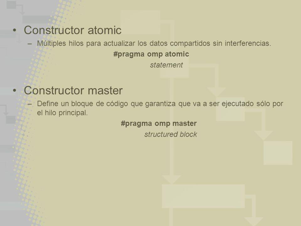 Constructor atomic –Múltiples hilos para actualizar los datos compartidos sin interferencias. #pragma omp atomic statement Constructor master –Define