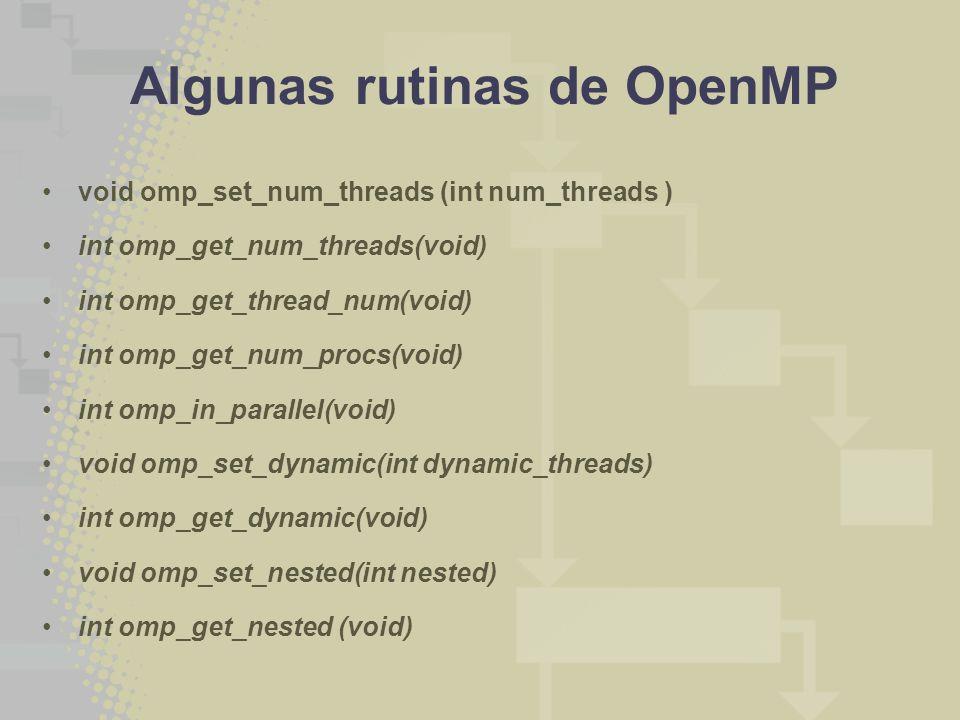 Algunas rutinas de OpenMP void omp_set_num_threads (int num_threads ) int omp_get_num_threads(void) int omp_get_thread_num(void) int omp_get_num_procs(void) int omp_in_parallel(void) void omp_set_dynamic(int dynamic_threads) int omp_get_dynamic(void) void omp_set_nested(int nested) int omp_get_nested (void)