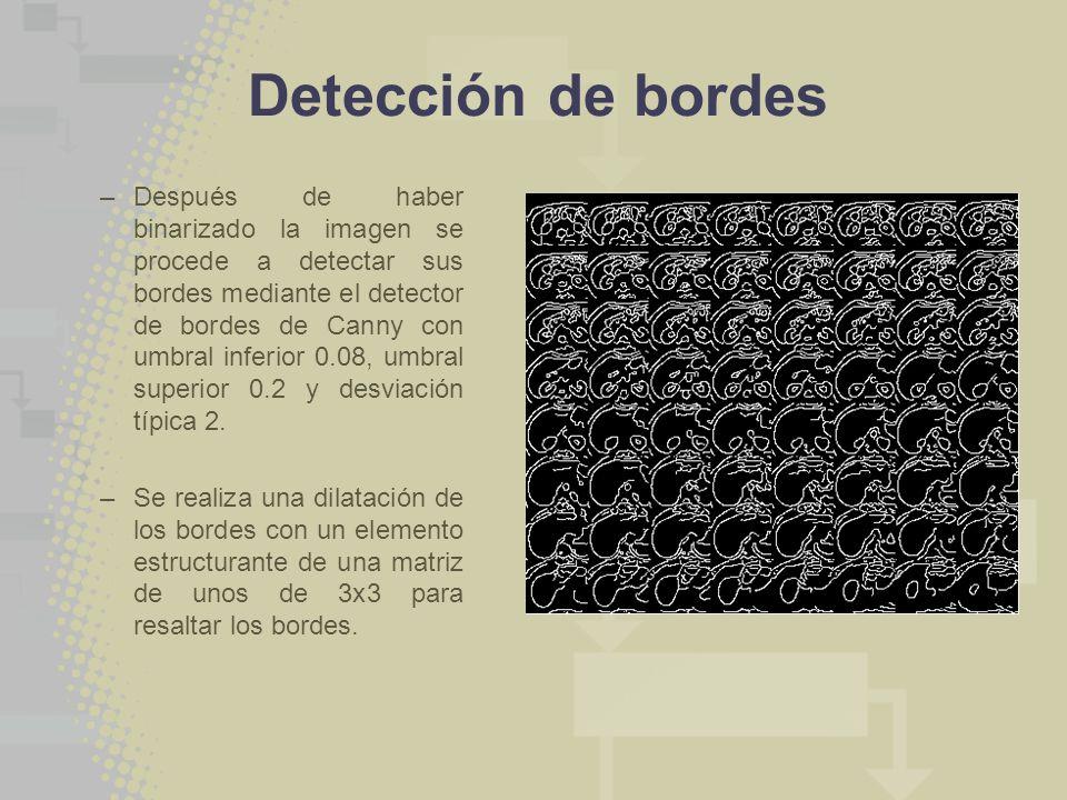 Detección de bordes –Después de haber binarizado la imagen se procede a detectar sus bordes mediante el detector de bordes de Canny con umbral inferior 0.08, umbral superior 0.2 y desviación típica 2.