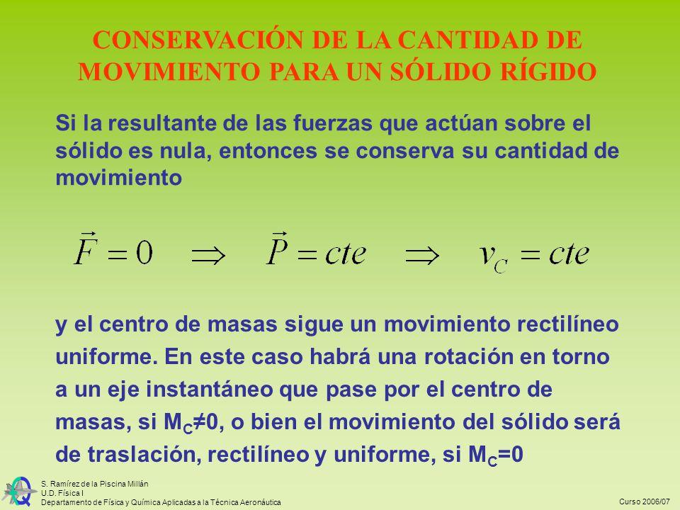 Curso 2006/07 S. Ramírez de la Piscina Millán U.D. Física I Departamento de Física y Química Aplicadas a la Técnica Aeronáutica CONSERVACIÓN DE LA CAN