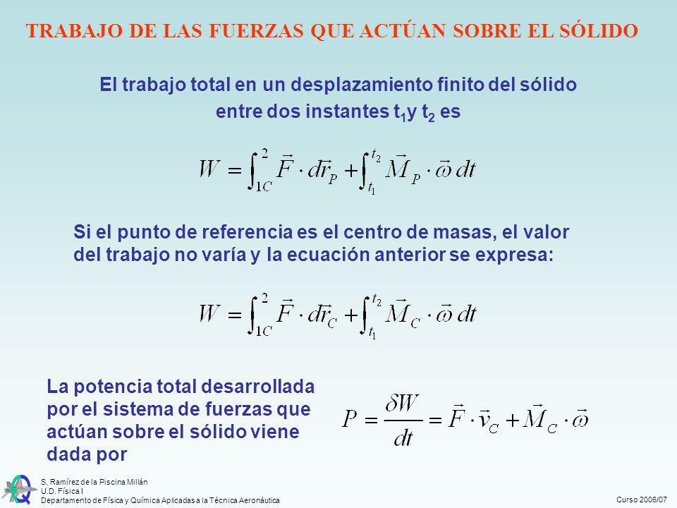 Curso 2006/07 S. Ramírez de la Piscina Millán U.D. Física I Departamento de Física y Química Aplicadas a la Técnica Aeronáutica El trabajo total en un