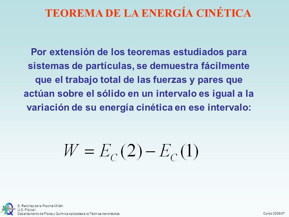 Curso 2006/07 S. Ramírez de la Piscina Millán U.D. Física I Departamento de Física y Química Aplicadas a la Técnica Aeronáutica TEOREMA DE LA ENERGÍA