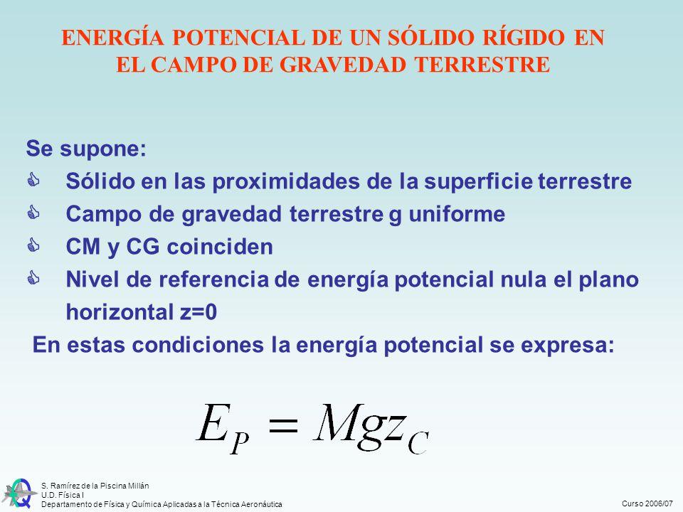 Curso 2006/07 S. Ramírez de la Piscina Millán U.D. Física I Departamento de Física y Química Aplicadas a la Técnica Aeronáutica ENERGÍA POTENCIAL DE U