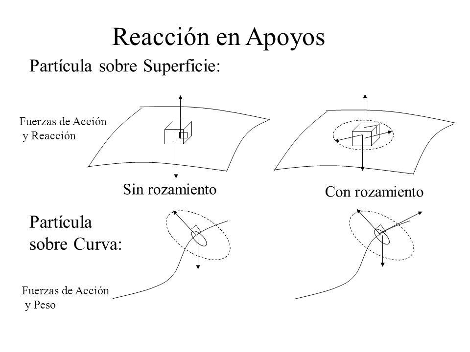 Partícula sobre Superficie: Reacción en Apoyos Partícula sobre Curva: Sin rozamiento Con rozamiento Fuerzas de Acción y Reacción Fuerzas de Acción y P