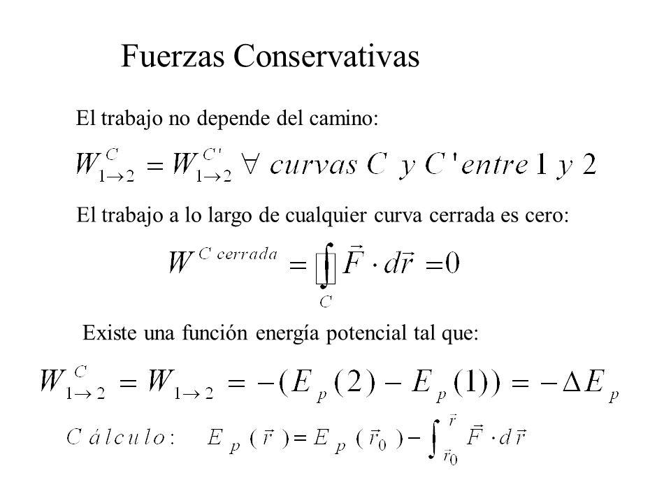 Fuerzas Conservativas El trabajo no depende del camino: El trabajo a lo largo de cualquier curva cerrada es cero: Existe una función energía potencial