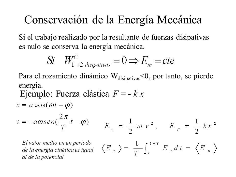 Conservación de la Energía Mecánica Si el trabajo realizado por la resultante de fuerzas disipativas es nulo se conserva la energía mecánica. Para el