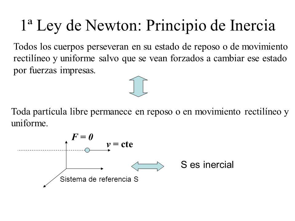 1ª Ley de Newton: Principio de Inercia Todos los cuerpos perseveran en su estado de reposo o de movimiento rectilíneo y uniforme salvo que se vean for
