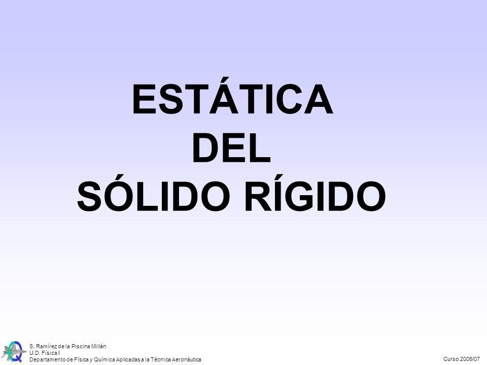 Curso 2006/07 S. Ramírez de la Piscina Millán U.D. Física I Departamento de Física y Química Aplicadas a la Técnica Aeronáutica ESTÁTICA DEL SÓLIDO RÍ