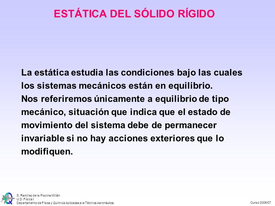 Curso 2006/07 S. Ramírez de la Piscina Millán U.D. Física I Departamento de Física y Química Aplicadas a la Técnica Aeronáutica La estática estudia la