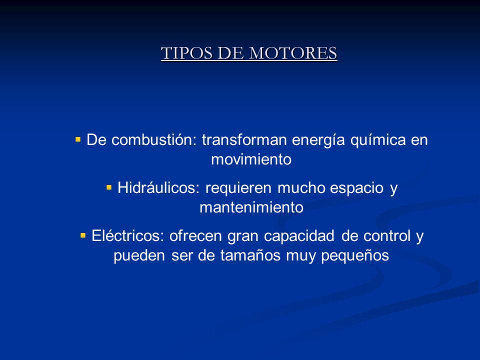 TIPOS DE MOTORES De combustión: transforman energía química en movimiento Hidráulicos: requieren mucho espacio y mantenimiento Eléctricos: ofrecen gran capacidad de control y pueden ser de tamaños muy pequeños