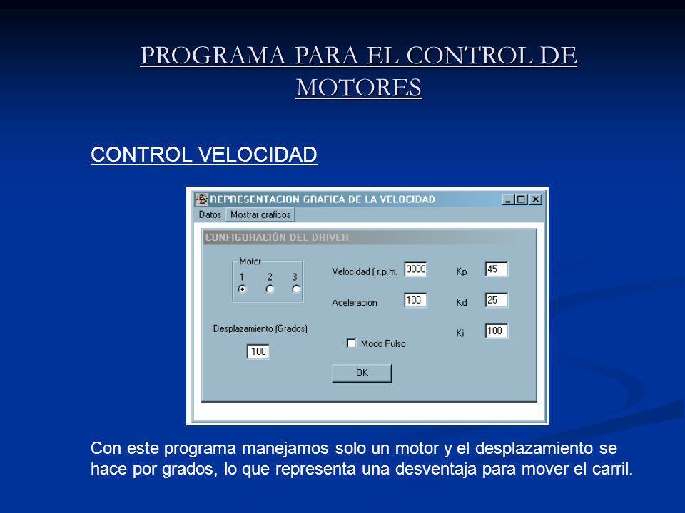 PROGRAMA PARA EL CONTROL DE MOTORES Con este programa manejamos solo un motor y el desplazamiento se hace por grados, lo que representa una desventaja para mover el carril.